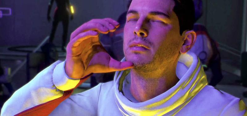 Герой Андромеды пьет невидимый вискарь из невидимого стакана