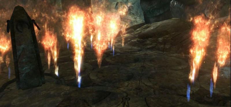 Из пола бьют огненные фонтаны