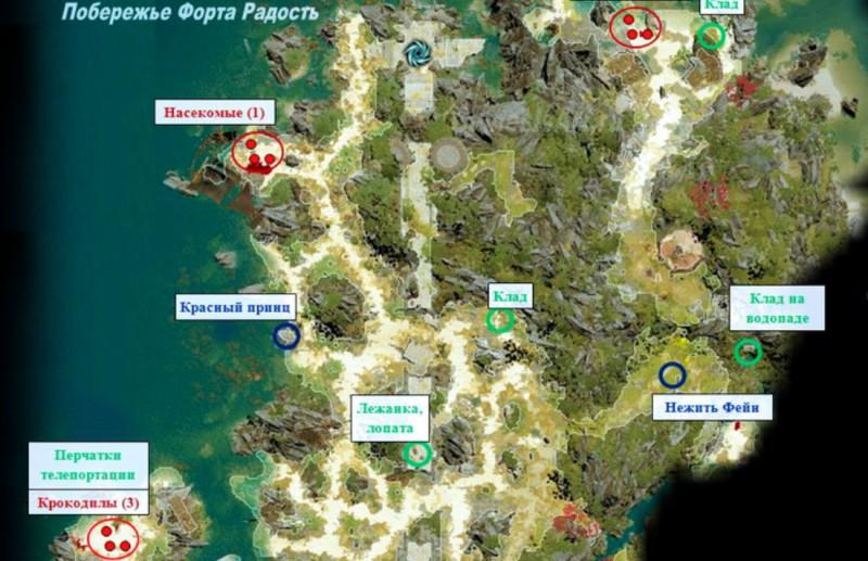 Карта побережья Форта Радость
