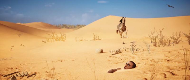Закопан по шею в песке