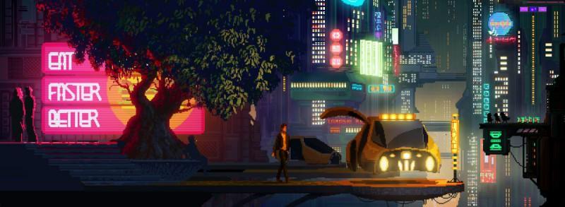 Скриншот киберпанк-игры The Last Night