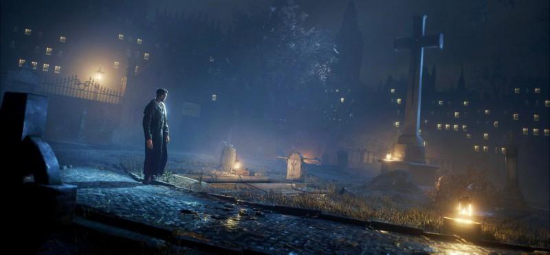 Одинокий вампир на кладбище