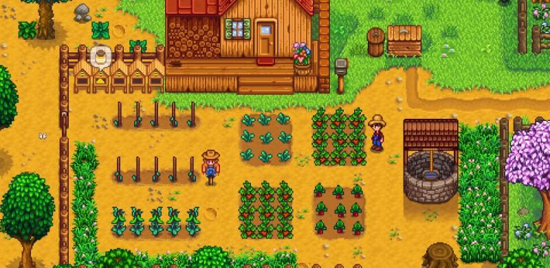 Фермер и пугало охраняют урожай