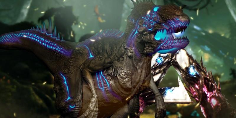 Динозавр неоновый дискотечный, одна штука