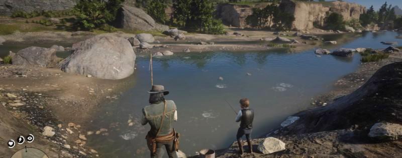 Рыбачим с сыном на пруду