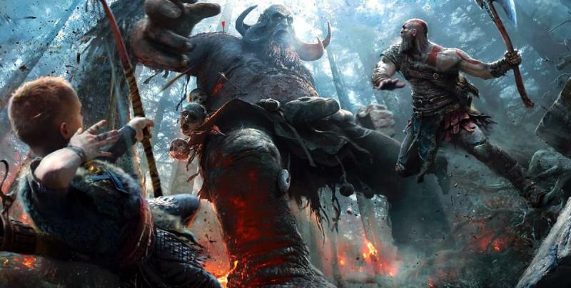 Кратос с сыном бьют великана