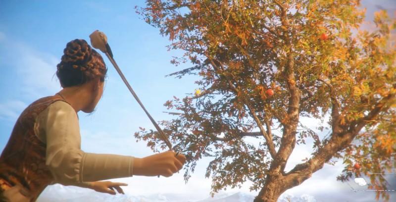 Стреляем из пращи по яблокам